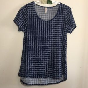 LULAROE TOP SHORT SLEEVE BLUE SIZE L